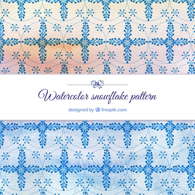 Watercolor snowflake pattern Free Vector