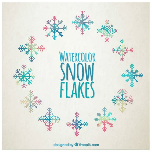 Watercolor snowflakes in colorful style Free Vector