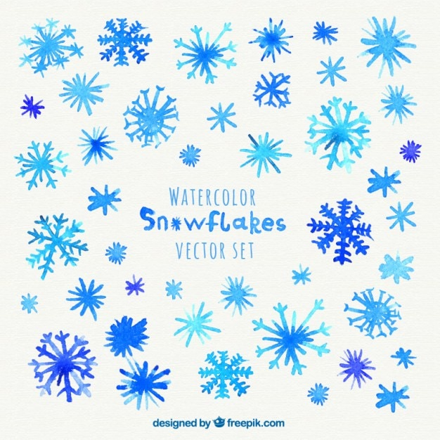watercolor snowflakes free vector