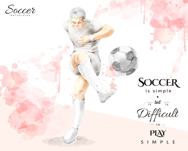 水彩のサッカー選手、エレガントなスプラッシュペイントブラシストロークスタイルでボールを蹴る若い男 Premiumベクター