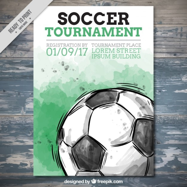 Watercolor Soccer Tournament Flyer Vector Free Download