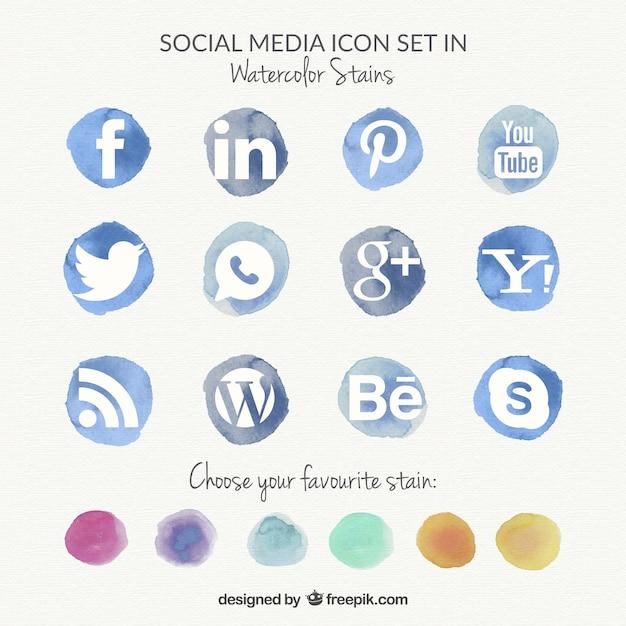 Watercolor social media icons Free Vector