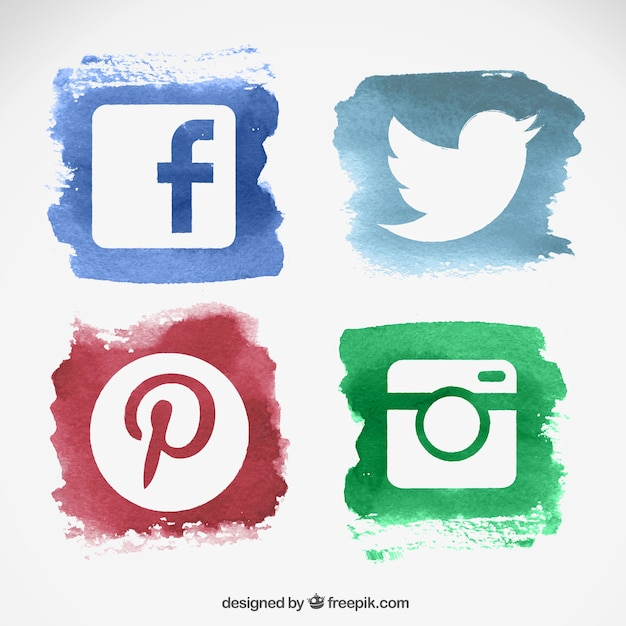 Watercolor social media logos Free Vector