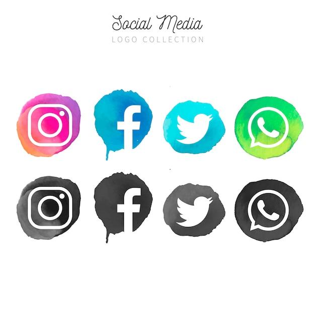 Watercolor social media logotype collection Free Vector