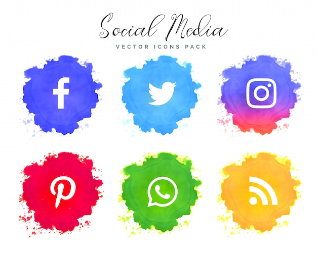 watercolor social media network icons collection Free Vector