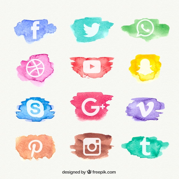 Watercolor social network icon collection Free Vector