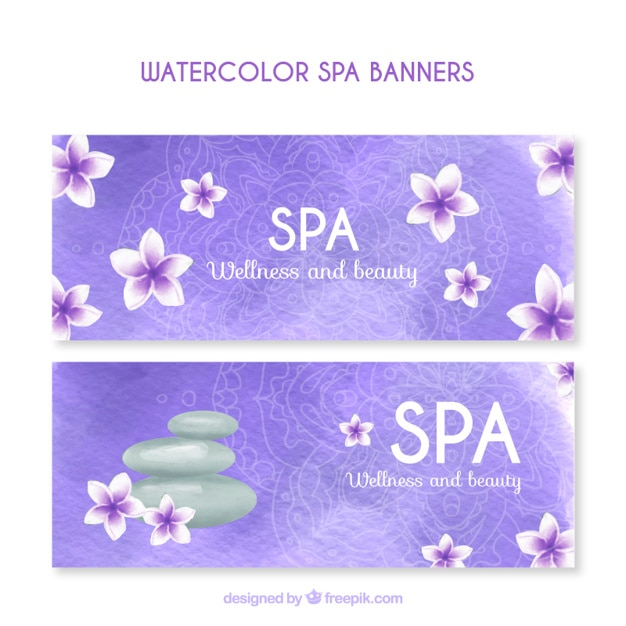 Watercolor spa banners
