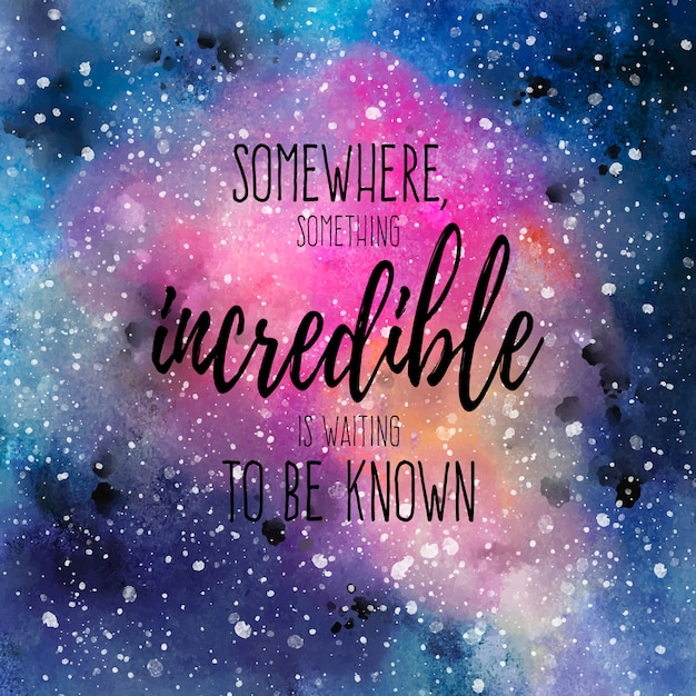 Watercolor Space Background with Quote