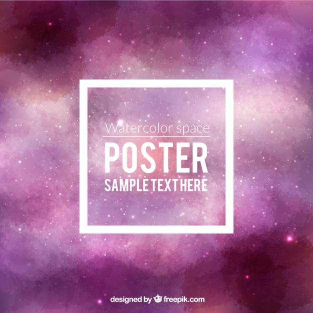 Watercolor space poster vector free download for Space poster design