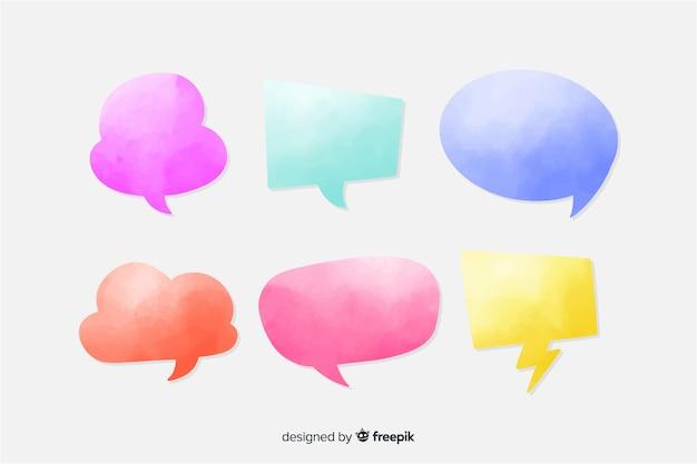 Watercolor speech bubble collection Free Vector
