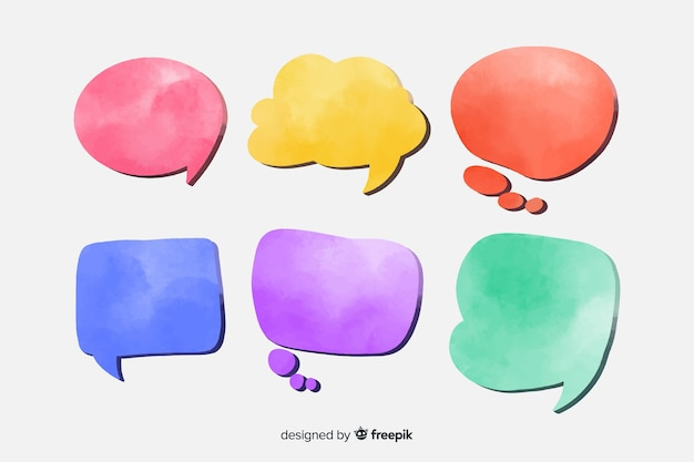 Watercolor speech bubble set Free Vector