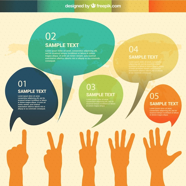 Watercolor speech bubbles infographic Free Vector