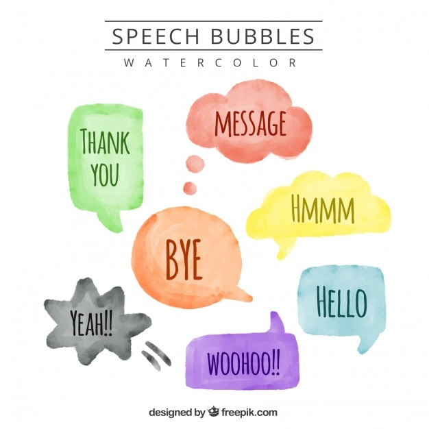 Watercolor speech bubbles with messages Free Vector