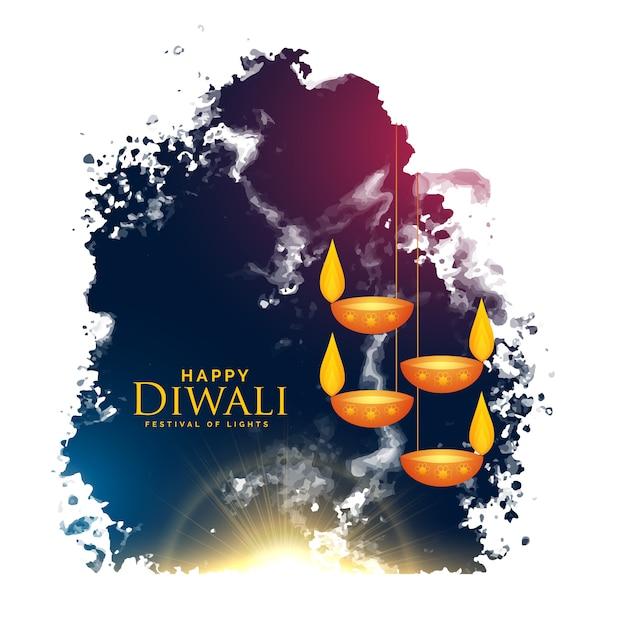 Watercolor splash with hanging diwali lamps Free Vector