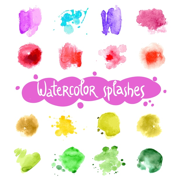 Watercolor splashes set Free Vector