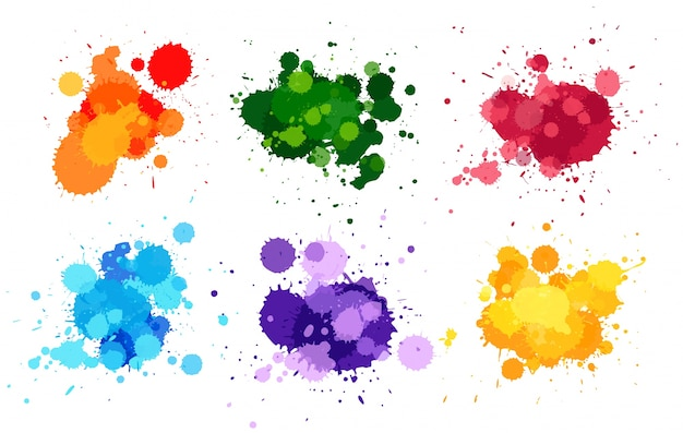 Watercolor splashes in six colors Premium Vector