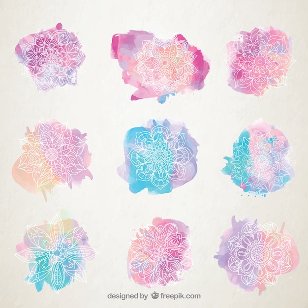 Watercolor splashes with hand drawn mandala collection Free Vector