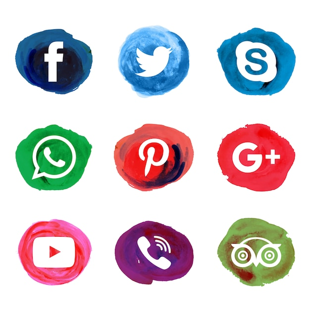 Watercolor splatter social icons Free Vector