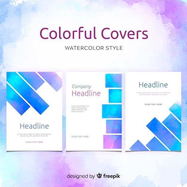 Watercolor spots brochure template Free Vector