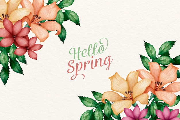 Watercolor spring background concept Free Vector