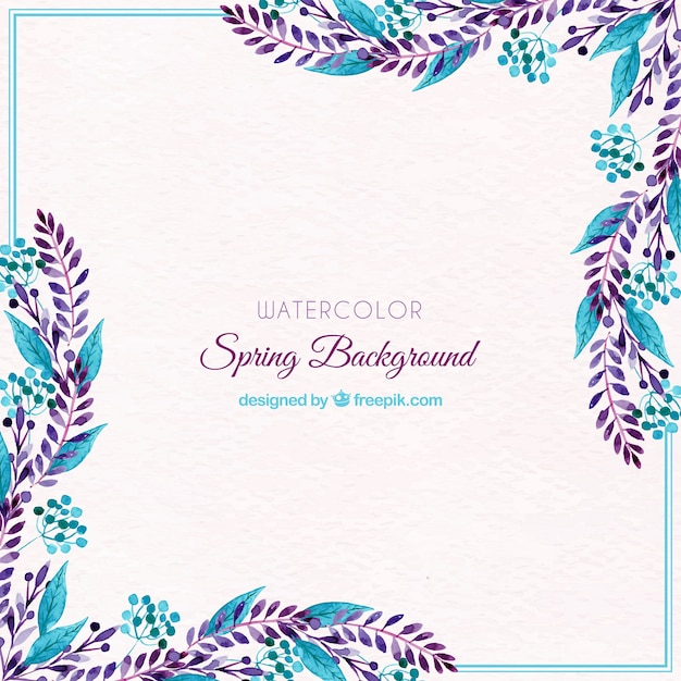 Watercolor spring background with blue leaves Free Vector
