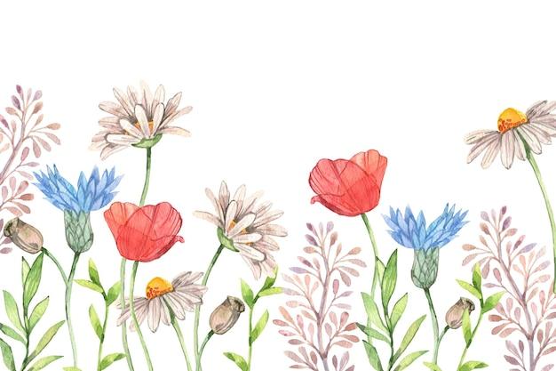 Sfondo primavera acquerello con fiori Vettore gratuito