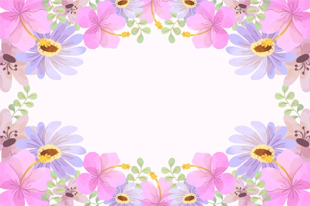 Watercolor spring background with pink flowers Free Vector