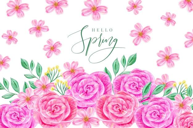 Sfondo primavera ad acquerello Vettore gratuito
