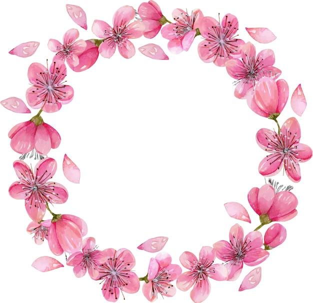 Watercolor Spring Blooming Cherry Tree Flowers Wreath Vector