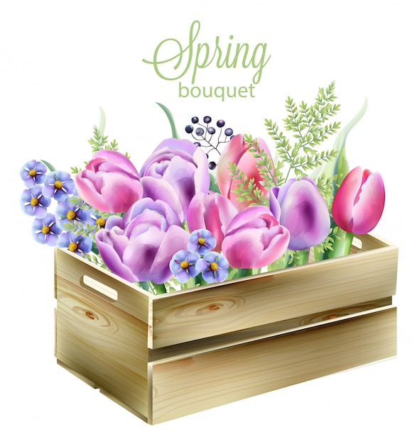 Watercolor spring bouquet in a wooden box. orchid, bluebells, berries, green leaves and tulips Free Vector