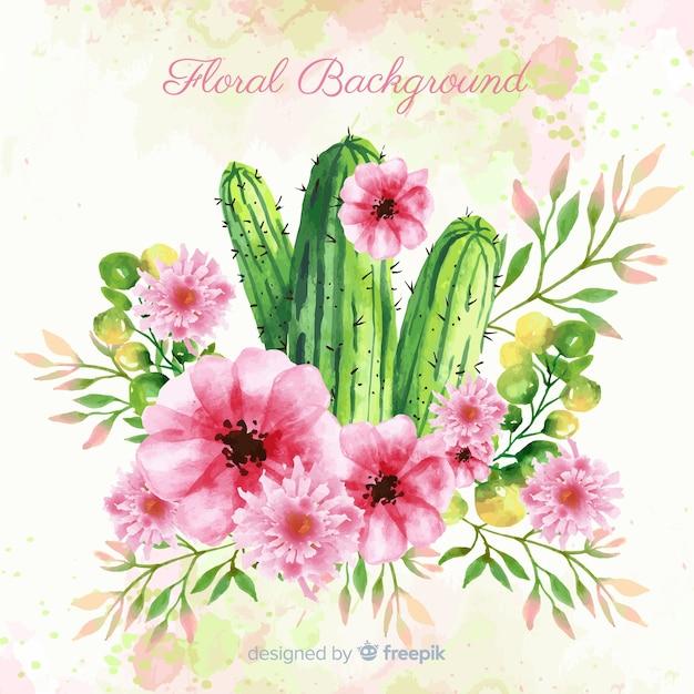 Watercolor spring cactus background Free Vector