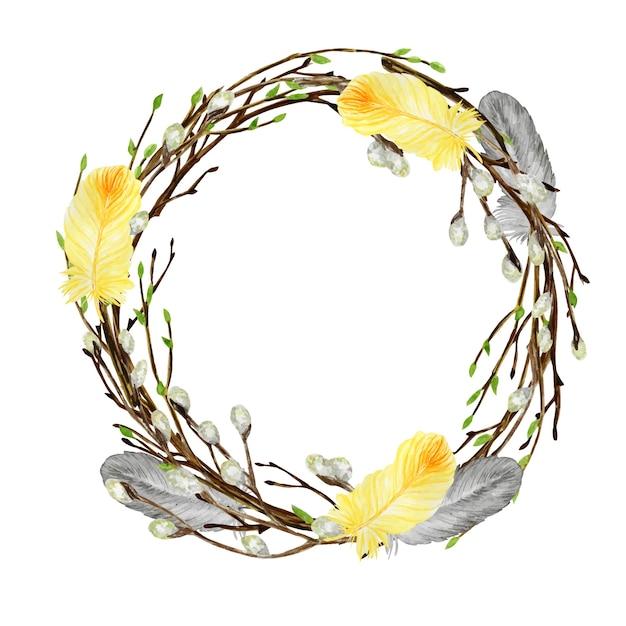 水彩の春のイースターリース。羽、卵、葉、柳フレームイラストと手描きの木の枝。 Premiumベクター