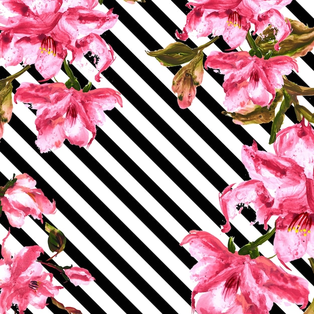 watercolor spring floral background with stripes free vector - Floral Backgrounds