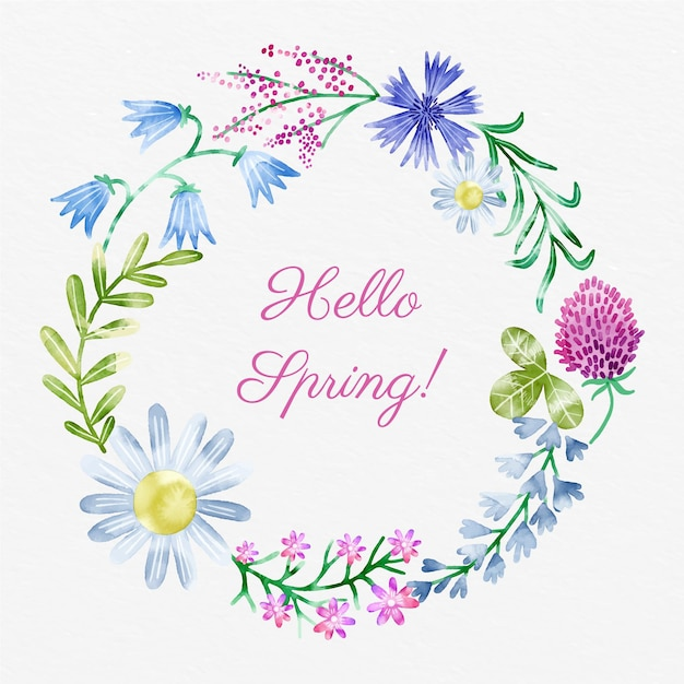 Watercolor spring floral frame with hello spring text Free Vector
