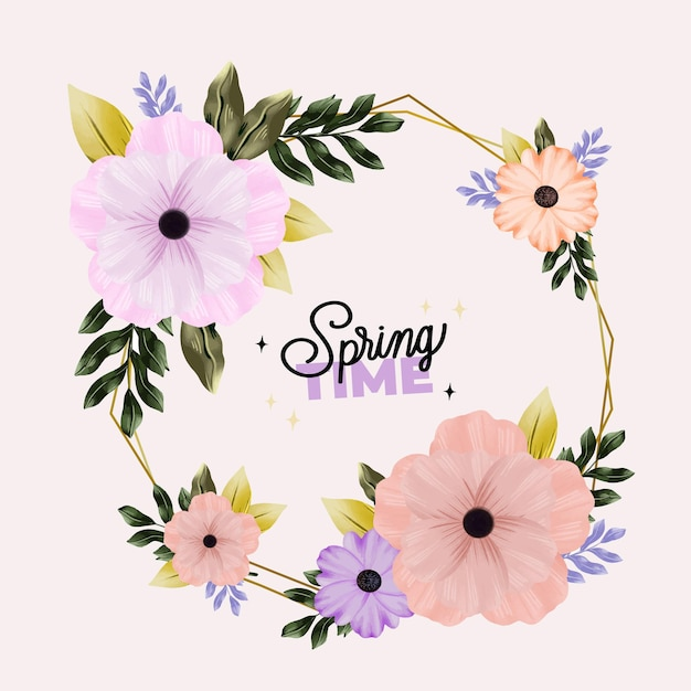 Watercolor spring floral frame Free Vector