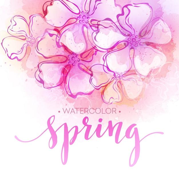 수채화 봄 꽃 배경입니다. 삽화 프리미엄 벡터