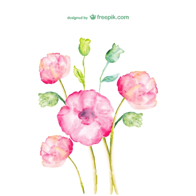 watercolor spring flowers vector  free download, Beautiful flower