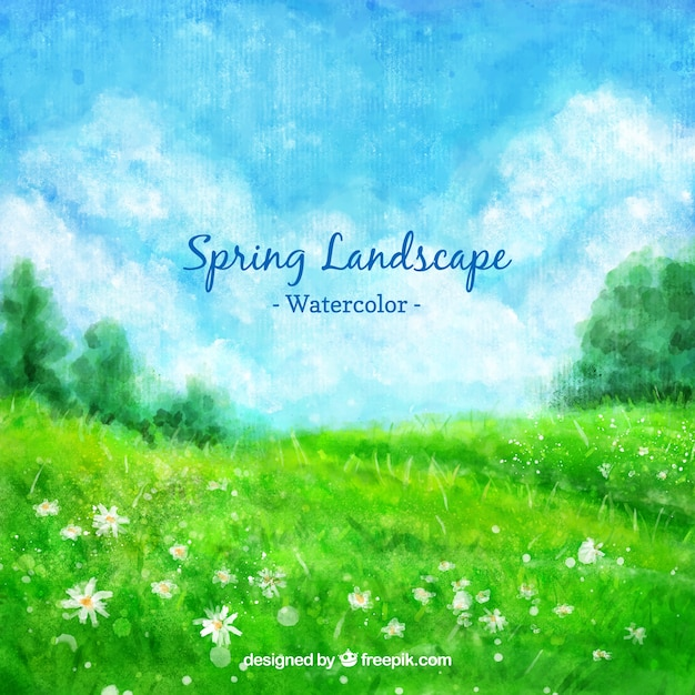 Watercolor spring green landscape Free Vector