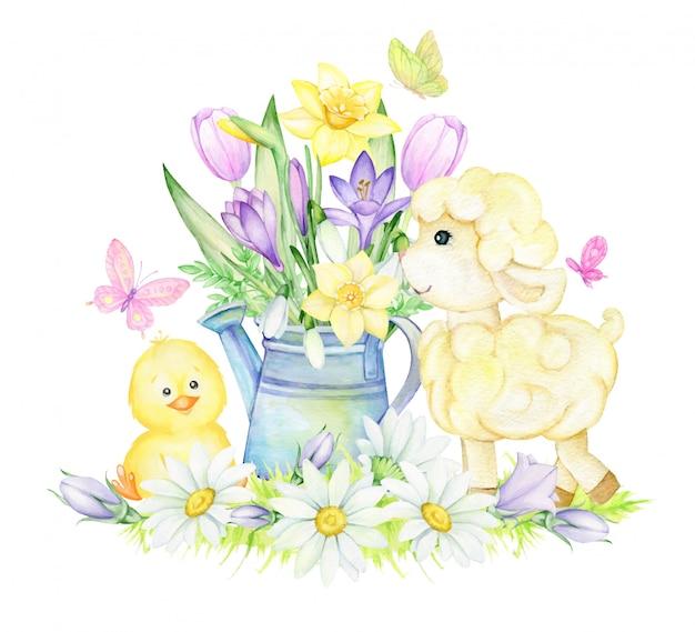 水彩春イラスト、羊とひよこの花 Premiumベクター