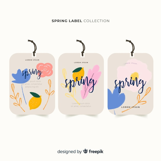 Watercolor spring label collection Free Vector