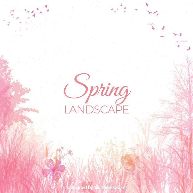 Watercolor spring landscape background Free Vector