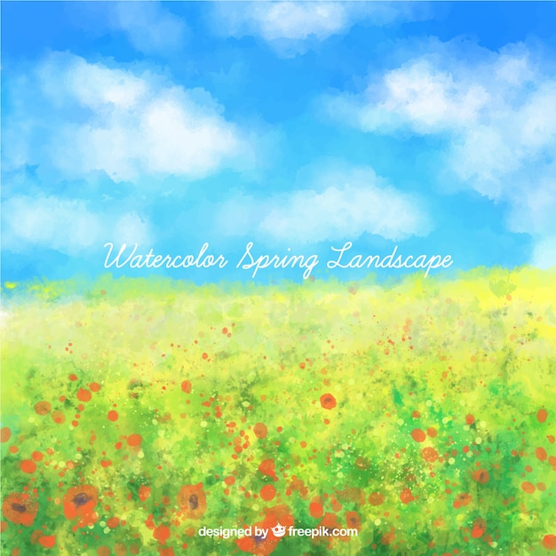 Watercolor spring landscape full flowers Free Vector