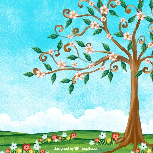 Watercolor spring landscape with beautiful tree Free Vector