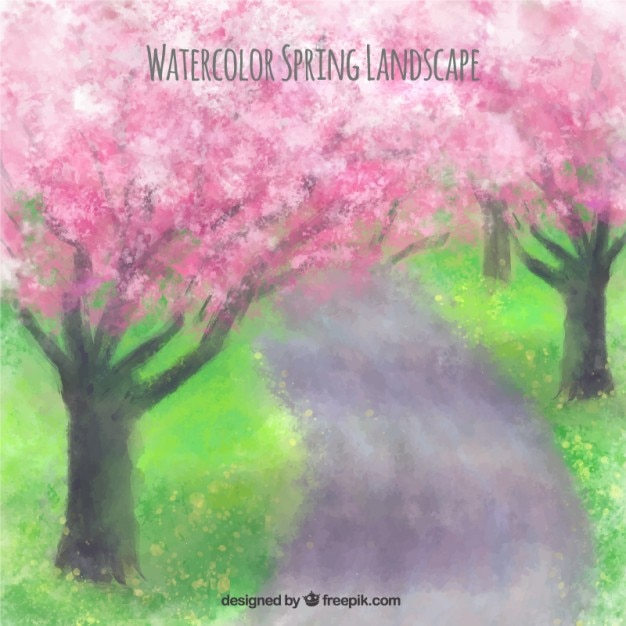 Watercolor Spring Landscape With Cherry Trees Vector