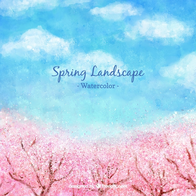 Watercolor spring landscape with cherry trees Free Vector