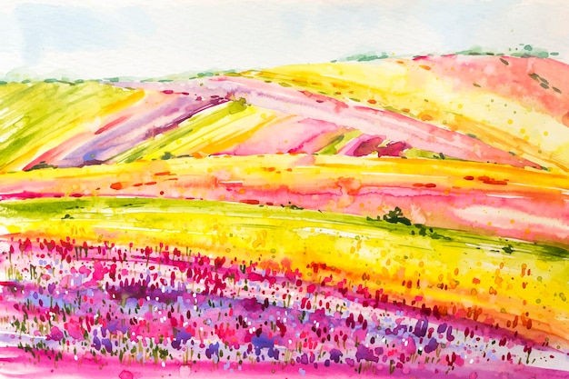 Watercolor spring landscape with colorful flower fields Free Vector