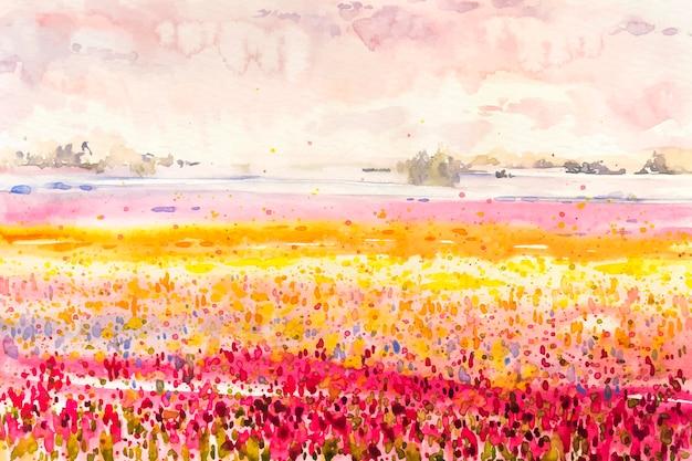 色とりどりの花のフィールドと水彩の春の風景 無料ベクター
