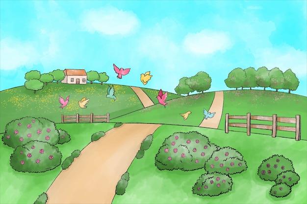 Paesaggio primaverile dell'acquerello con strada e cespugli Vettore gratuito