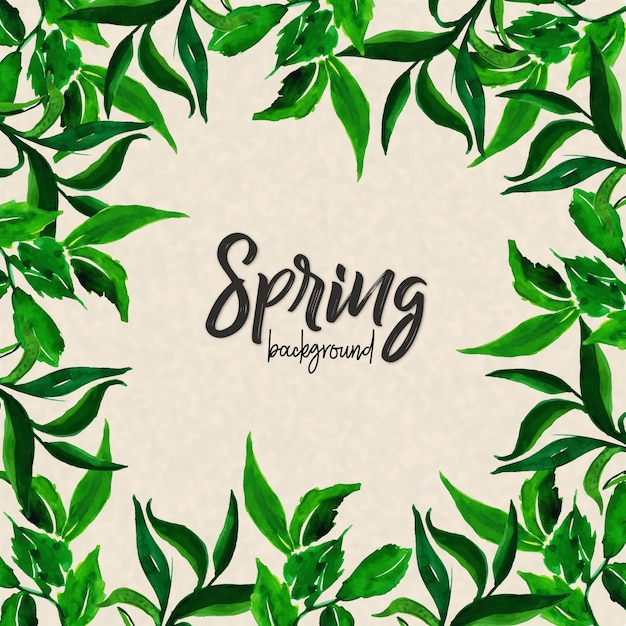 Watercolor Spring Leaves Background Free Vector