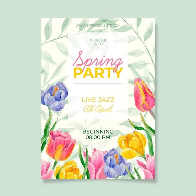 Шаблон плаката акварельной весенней вечеринки Бесплатные векторы